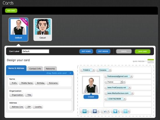Par Exemple Vous Avez Ici Ma Carte Business Defaut Auquel Il Est Possible Dassocier Mes Profils De Reseaux Sociaux BtoB LinkedIn Viadeo Plaxo